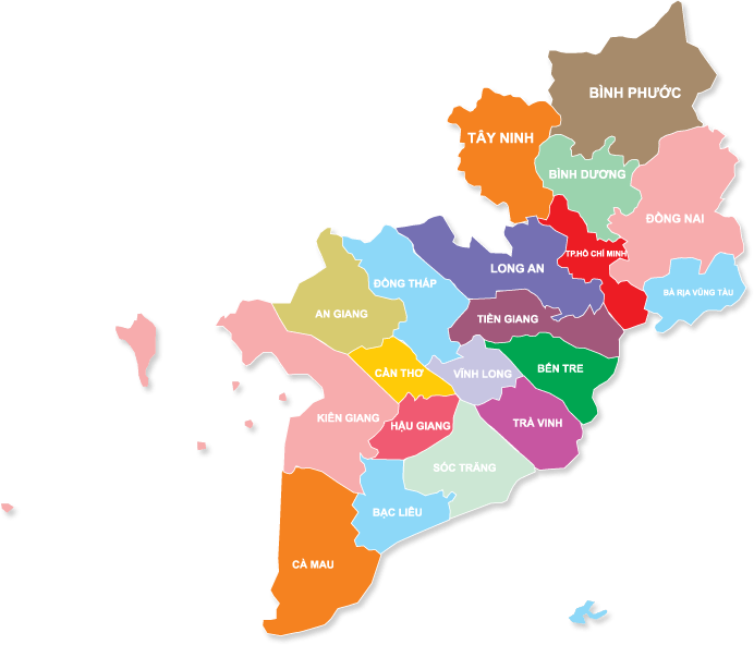 Image result for bản đồ miá»n Nam