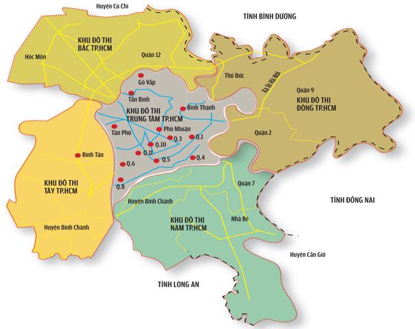 Image result for Bản đồ các quận HCM
