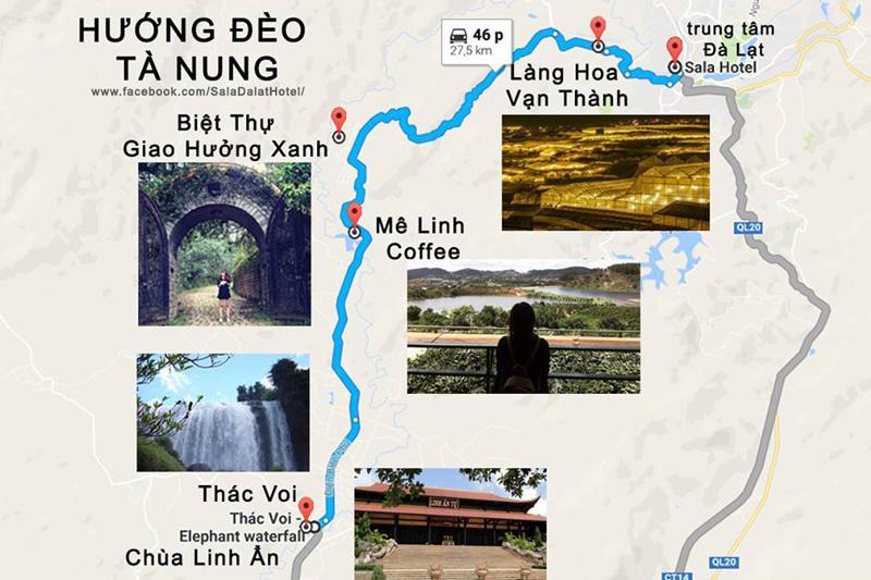 Image result for bản đồ Hướng đi đèo Tà Nung